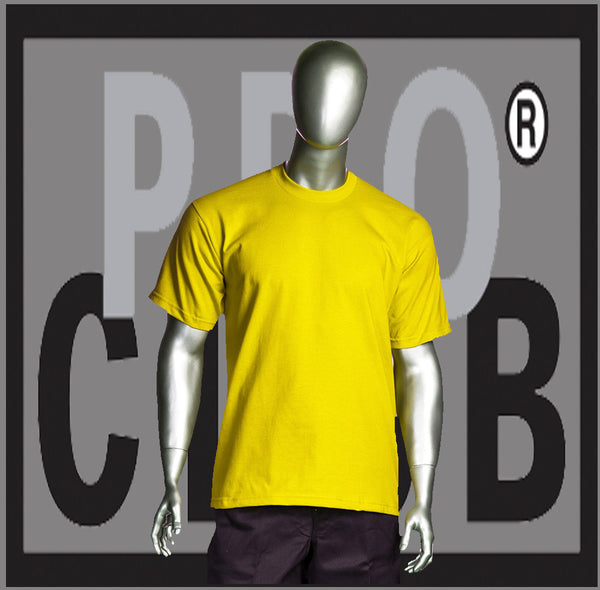 SHORT SLEEVE TEE CREW NECK Pro Club COMFORT T Shirt (Yellow) Small to 7XL - Just Sneaker Tees