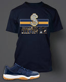 Navy T Shirt To Match Retro Air Jordan 11 Gum Shoe