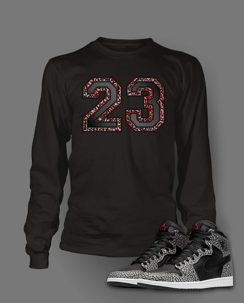 Long Sleeve T Shirt To Match Retro Air Jordan 1 Black Cement Shoe - Just Sneaker Tees