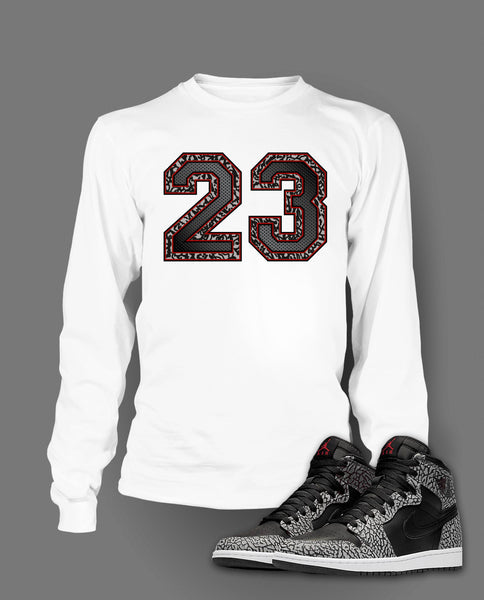 Long Sleeve T Shirt To Match Retro Air Jordan 1 Black Cement Shoe - Just Sneaker Tees - 2