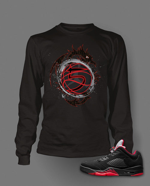 Long Sleeve T Shirt To Match Retro Air Jordan 5 Low Shoe Alternate - Just Sneaker Tees - 1