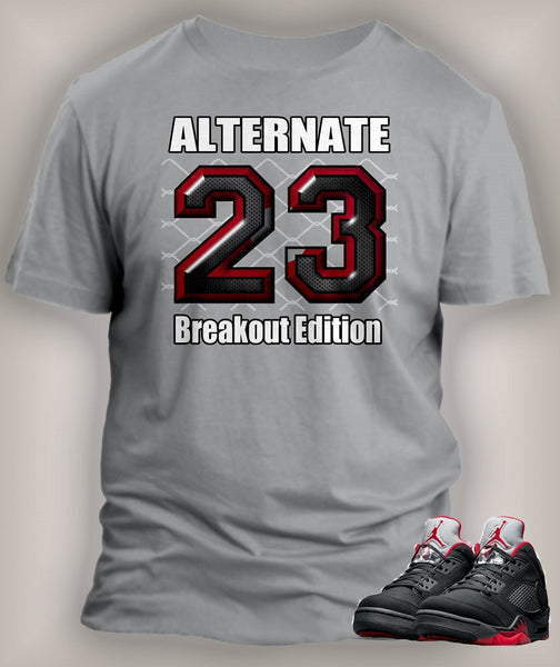 Gray T Shirt To Match Retro Air Jordan 5 Alternate Shoe
