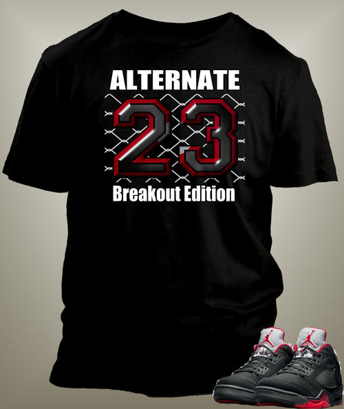 T Shirt To Match Retro Air Jordan 5 Shoe Alternate Breakout Edition - Just Sneaker Tees - 1