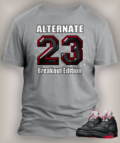 T Shirt To Match Retro Air Jordan 5 Shoe Alternate Breakout Edition - Just Sneaker Tees - 2