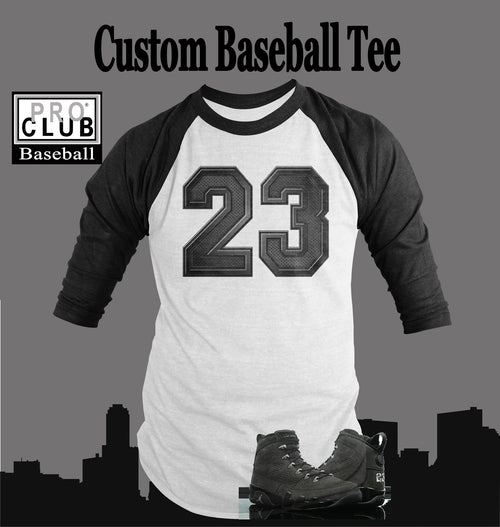 Baseball T Shirt To Match Retro Air Jordan 9 Anthracite - Just Sneaker Tees - 2