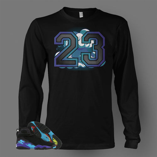 Long Sleeve T Shirt To Match Retro Air Jordan 8 Shoe Aqua - Just Sneaker Tees - 1