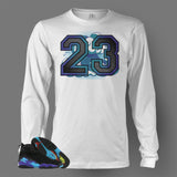 Long Sleeve T Shirt To Match Retro Air Jordan 8 Shoe Aqua - Just Sneaker Tees - 2