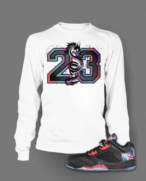 Long Sleeve Custom T-shirt To Match Retro Air Jordan 5 Low Chinese New Year - Just Sneaker Tees - 1