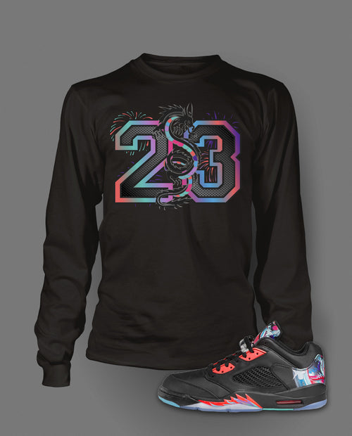 Long Sleeve Custom T-shirt To Match Retro Air Jordan 5 Low Chinese New Year - Just Sneaker Tees - 2