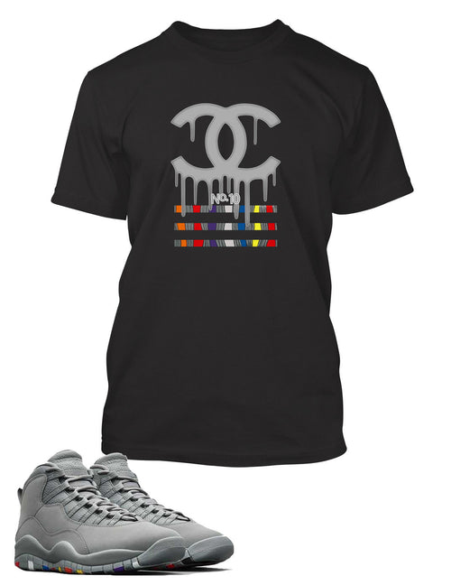 Drippin GG Graphic T Shirt to Match Air Jordan 10 Retro Gray Shoe