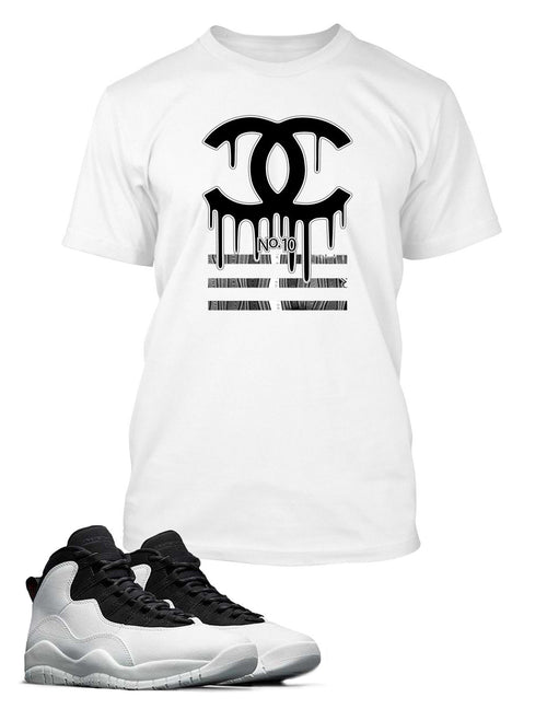 New Black and White Drippin GG Graphic T Shirt to Match Air Jordan 10 Retro Shoe