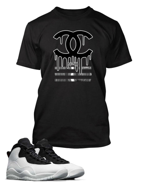 Black and White Drippin GG Graphic T Shirt to Match Air Jordan 10 Retro Shoe