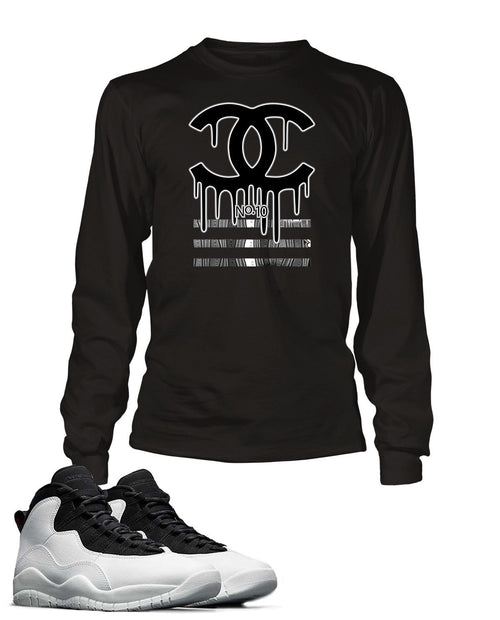New Black and White Drippin GG Graphic T Shirt to Match Retro Air Jordan 10 Shoe