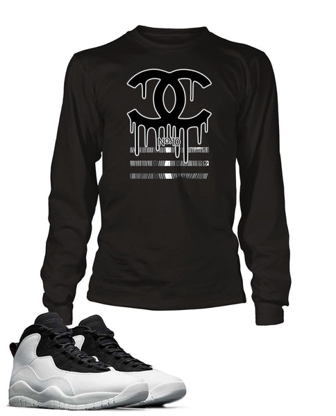 Black and White Drippin GG Graphic T Shirt to Match Retro Air Jordan 10 Shoe