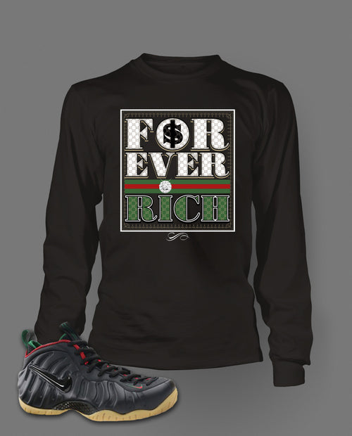 Long Sleeve T Shirt To Match Gucci Black Foamposite Shoes - Just Sneaker Tees - 1
