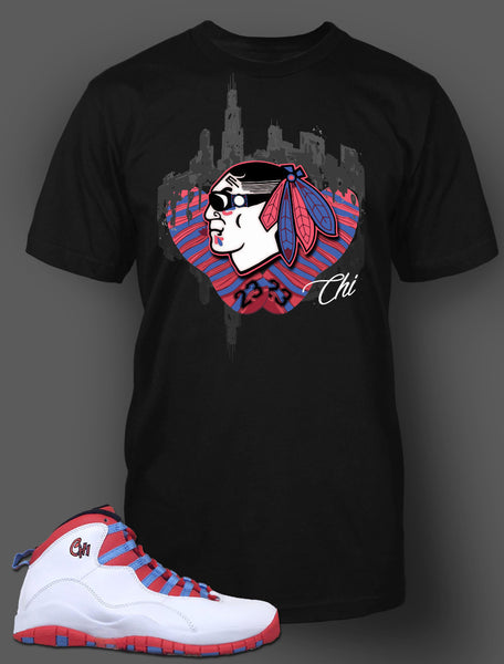 Custom T Shirt To Match Air Jordan 10 Chicago Shoe - Just Sneaker Tees - 1