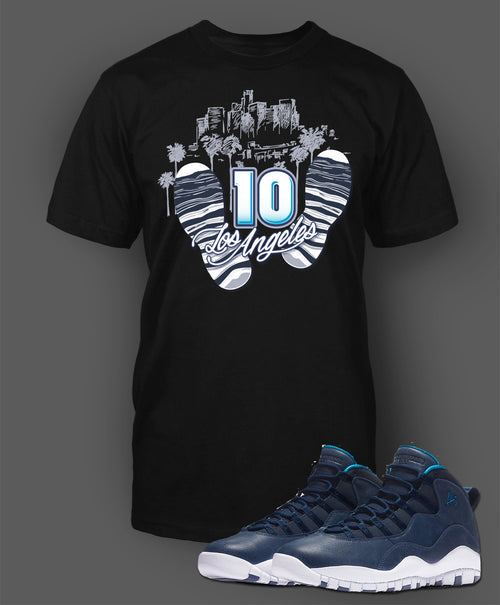 hot sale online c8777 535c4 Custom T Shirt To Match Air Jordan 10 LA Shoe - Just Sneaker Tees - 1