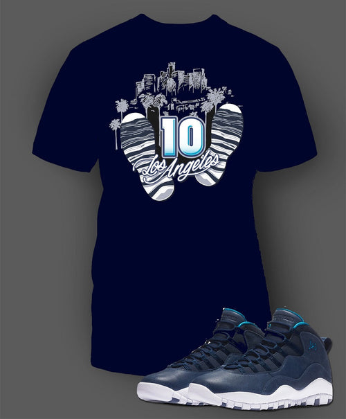 Navy T Shirt To Match Retro Air Jordan 10 LA Shoe