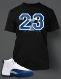 T Shirt To Match Retro Air Jordan 12 Shoe French Blue Custom Tee - Just Sneaker Tees - 2