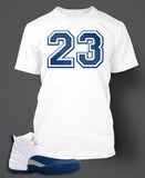 T Shirt To Match Retro Air Jordan 12 Shoe French Blue Custom Tee - Just Sneaker Tees - 1