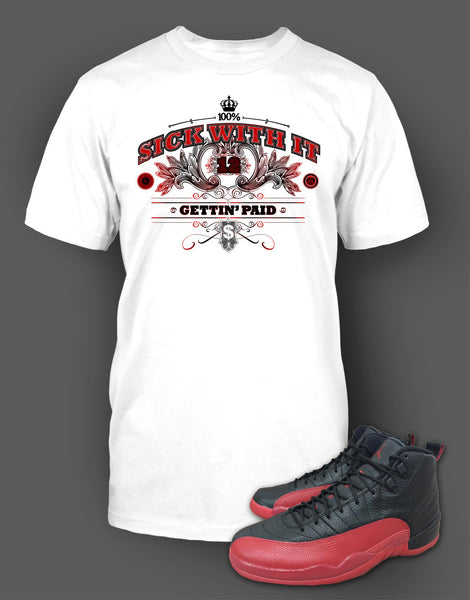 Custom T Shirt To Match Air Jordan 12 Flu Game Shoe - Just Sneaker Tees - 2