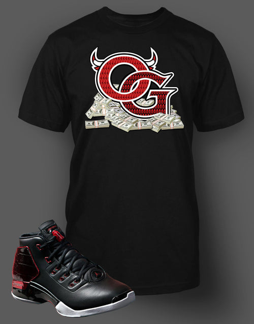 9d4d25156f4 ... Custom T Shirt To Match Air Jordan 17 Bred Shoe - Just Sneaker Tees - 1  ...