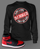 Long Sleeve Custom T-shirt To Match Retro Air Jordan 1 Banned Tee - Just Sneaker Tees - 1