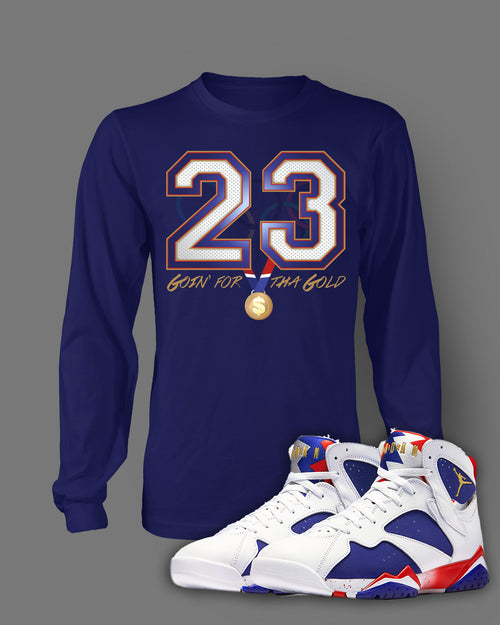 Long Sleeve Custom T-shirt To Match Retro Air Jordan 7 Olympic Shoe - Just Sneaker Tees - 1