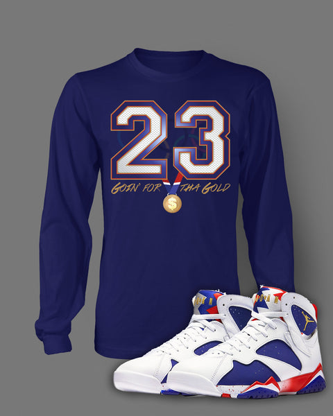 best sneakers 1f445 9f43d Long Sleeve Graphic T-Shirt To Match Retro Air Jordan 7 Olympic Shoe