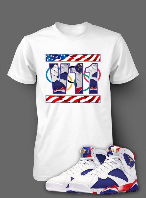 Custom T Shirt To Match Air Jordan 7 Olympic Shoe - Just Sneaker Tees - 2