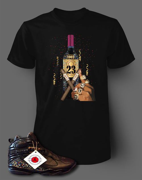 380b46fd035b T Shirt To Match Retro Air Jordan 8 Shoe Confetti Tee - Just Sneaker Tees -
