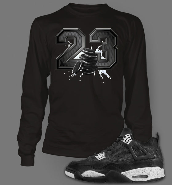 Long Sleeve Custom T-shirt To Match Retro Air Jordan 4 Oreo - Just Sneaker Tees - 1