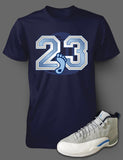 T Shirt To Match Retro Air Jordan 12 Shoe Grey/University Blue Tee - Just Sneaker Tees - 2