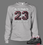 Long Sleeve Graphic Breakout T Shirt To Match Retro Air Jordan 5 Alternate Shoe