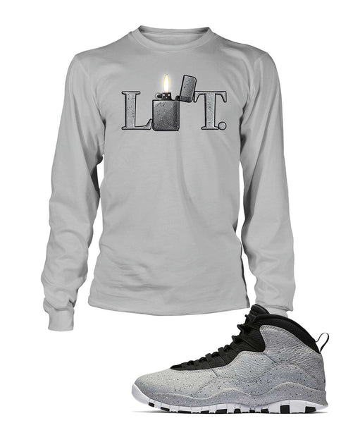New Lit Graphic T Shirt to Match Retro Air Jordan 10 Light Smoke Shoe