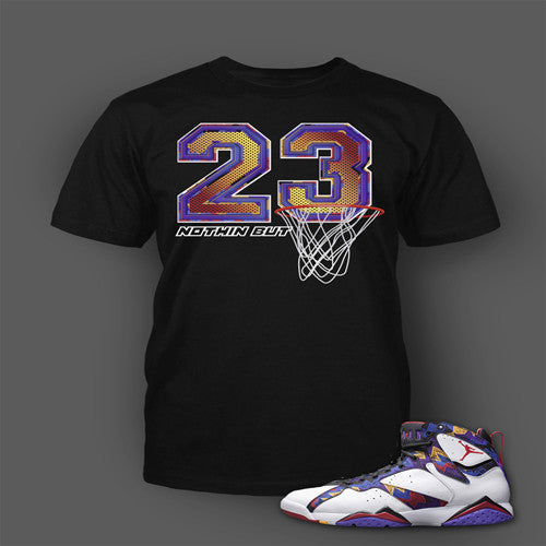 Tee Shirt to match Air Jordan 7 Nothing But Net Short Sleeve Black t shirt