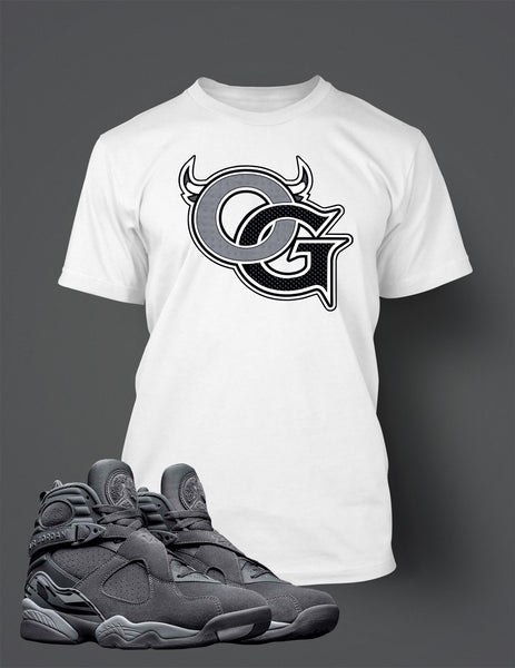 Graphic OG T Shirt to Match Retro Air Jordan 8 Cool Grey Shoe