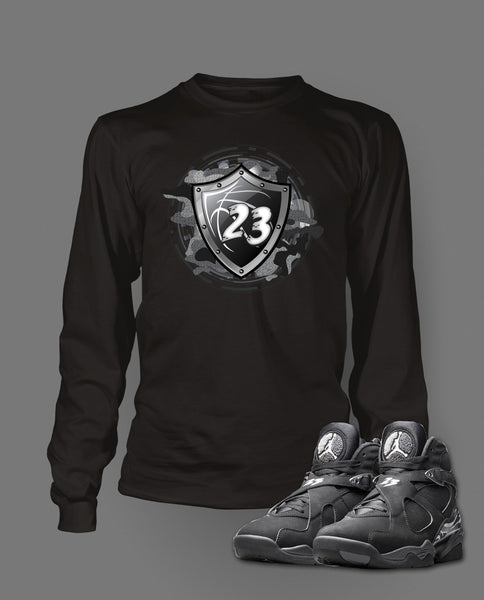Long Sleeve T Shirt To Match Retro Air Jordan 8 Chrome Shoe - Just Sneaker Tees - 1
