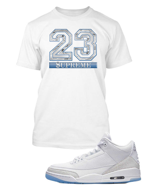Supreme 23 Graphic T Shirt to Match Air Jordan 3 Pure White Shoe