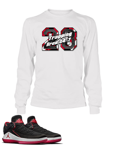 Trappin 24/7 Graphic T Shirt to Match Retro Air Jordan 32 Low Bred Shoe