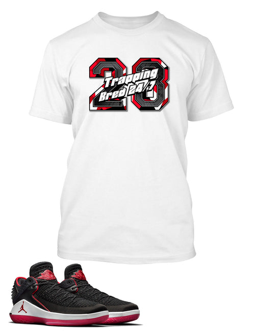 Trappin 24/7 Graphic Shirt to Match Retro Air Jordan 32 Low Bred Shoe