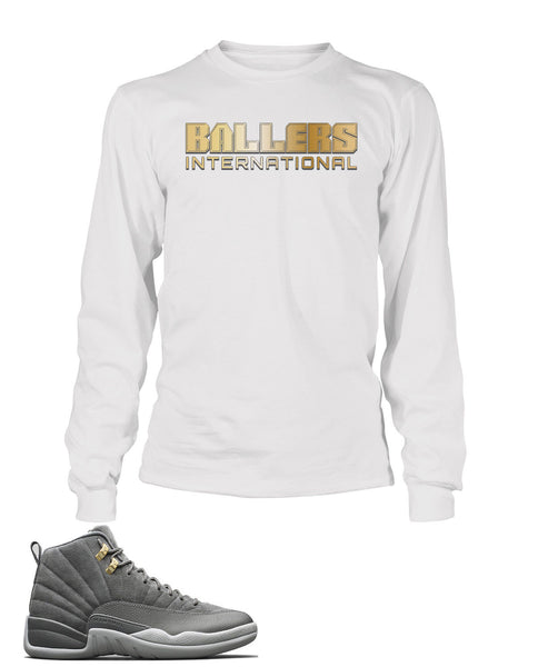 Ballers International Graphic T Shirt to Match Retro Air Jordan 12 Cool Grey Shoe