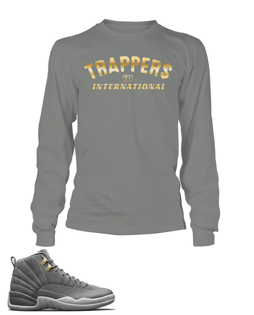 Trappers Graphic T Shirt to Match Retro Air Jordan 12 Cool Grey Shoe