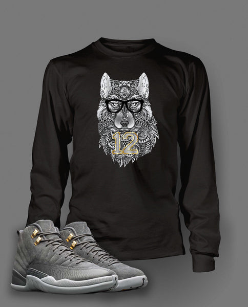 Graphic Wolf T Shirt To Match Retro Air Jordan 12 Cool Grey Shoe