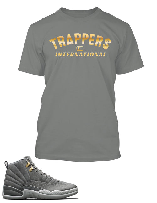 Trapper International Graphic T Shirt to Match Retro Air Jordan 12 Cool Grey Shoe