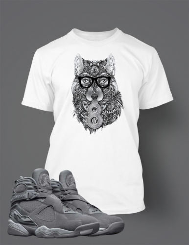 Graphic Wolf T Shirt to Match Retro Air Jordan 8 Cool Grey Shoe