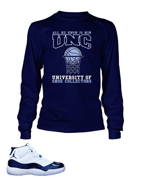 Shoe Collectors University Graphic T Shirt to Match Retro Air Jordan 11 UNC Shoe