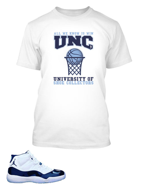 Shoe Collector University T Shirt to Match Retro Air Jordan 11 UNC Shoe