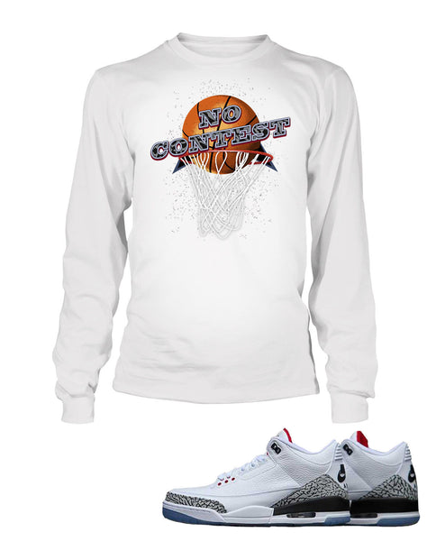 No Contest Graphic T Shirt to Match Retro Air Jordan 3 Black Cement Shoe