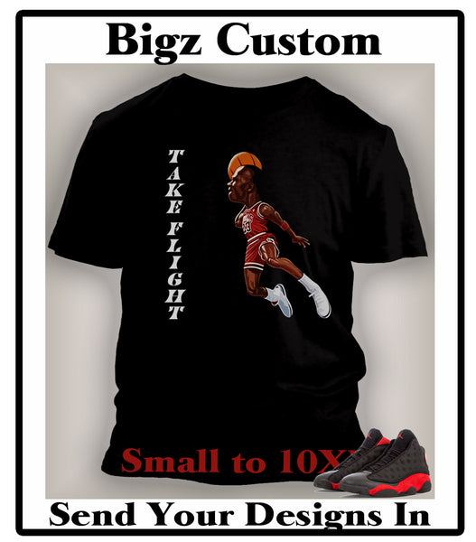 Graphic Cartoon Take Flight Graphic T Shirt to Match Retro Air Jordan 13 Bred Shoe